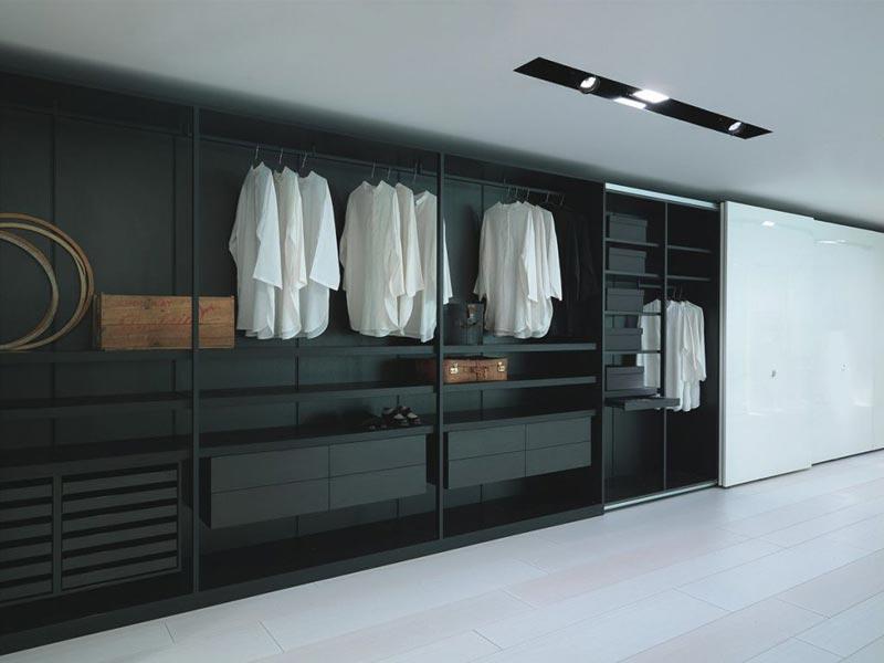 black wardrobe shelves