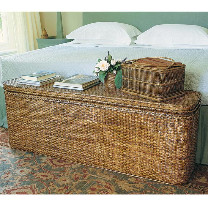 brown wicker storage trunk–coffee table