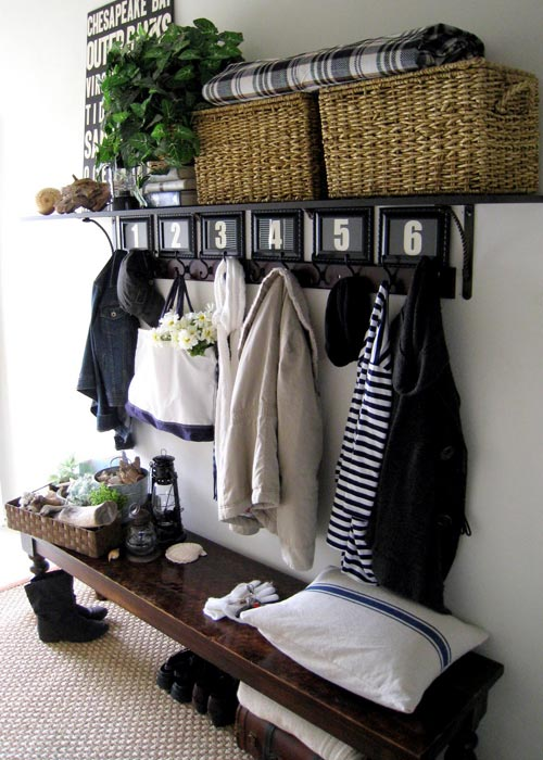 entry bench with shoe storage and coat rack images