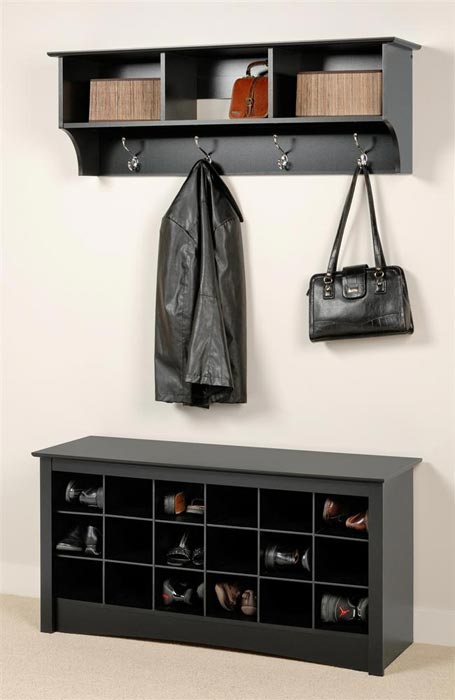 entry bench with shoe storage and coat rack