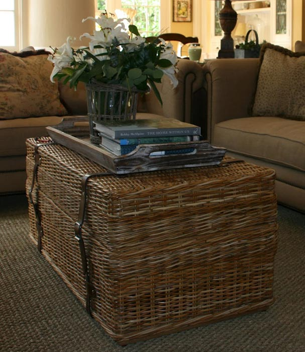 large wicker trunk coffee table