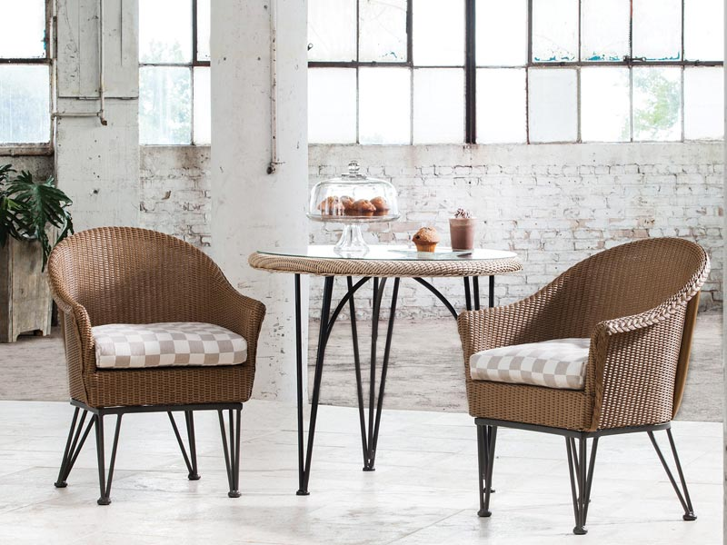 lloyd loom bistro dining chairs