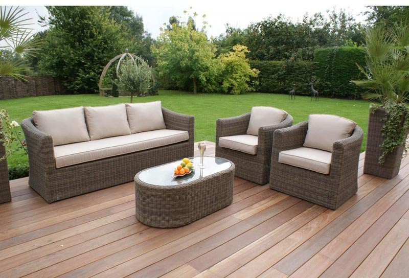 Maze Rattan Kingston 3 Seater Garden Sofa Set