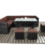 : rattan 3 seater modular sofa with footstool