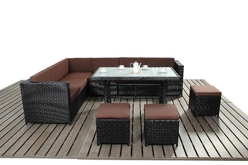 Rattan 3 Seater Modular Sofa With Footstool