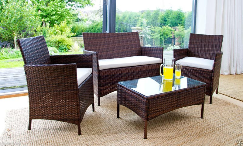 wicker coffee table indoor 3 piece