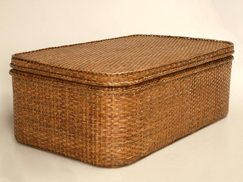 wicker storage trunk coffee table