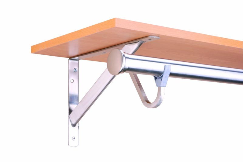 wooden shelf and rod bracket