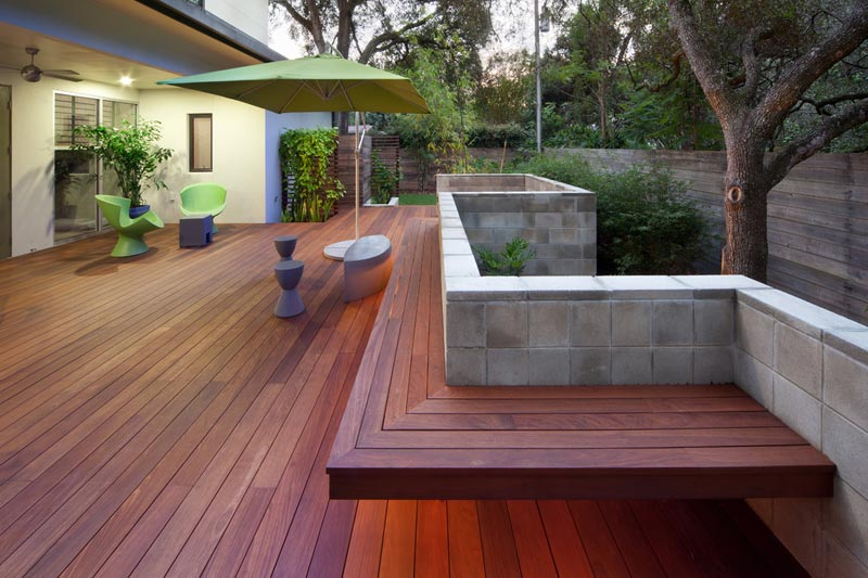 built in garden bench designs
