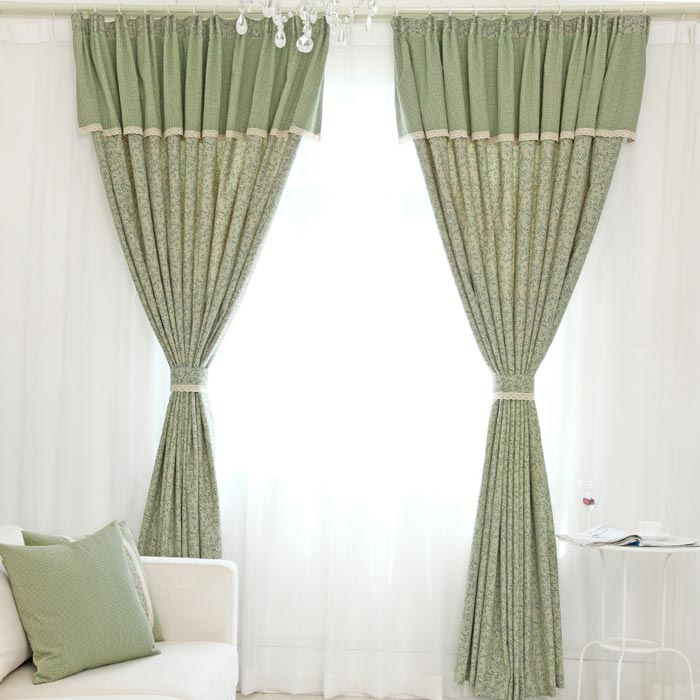 curtains with valance for living room 3d
