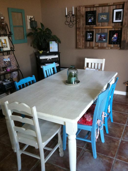 dining set with mismatched chairs