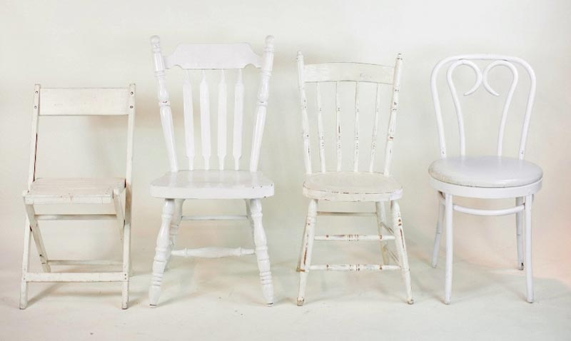 white mismatched dining chairs