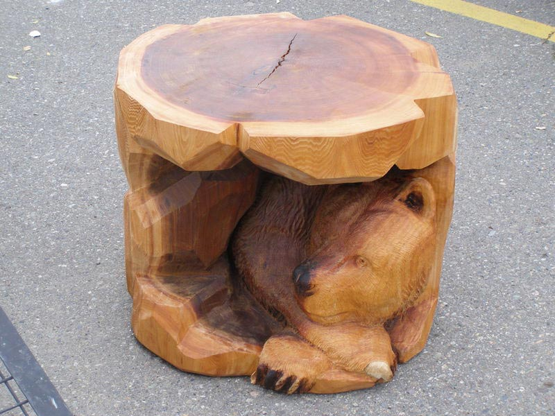 carved bear coffee table