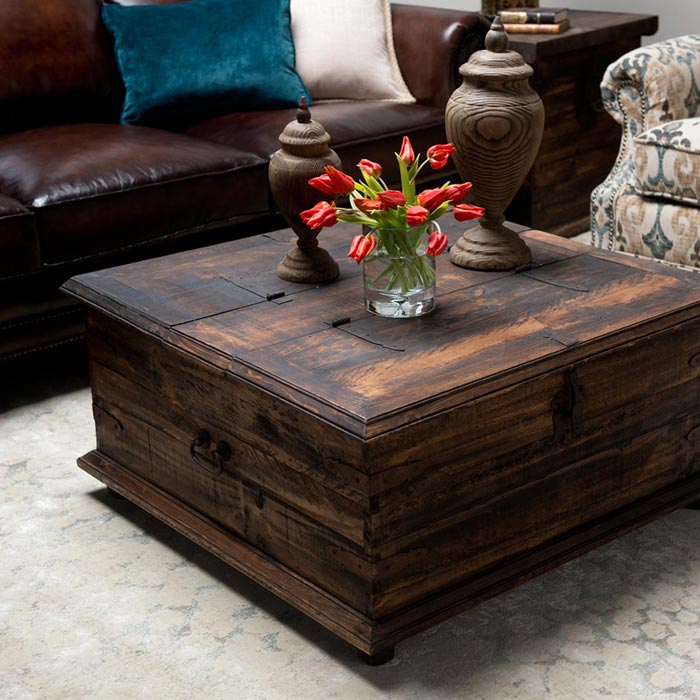compare rustic trunk coffee table