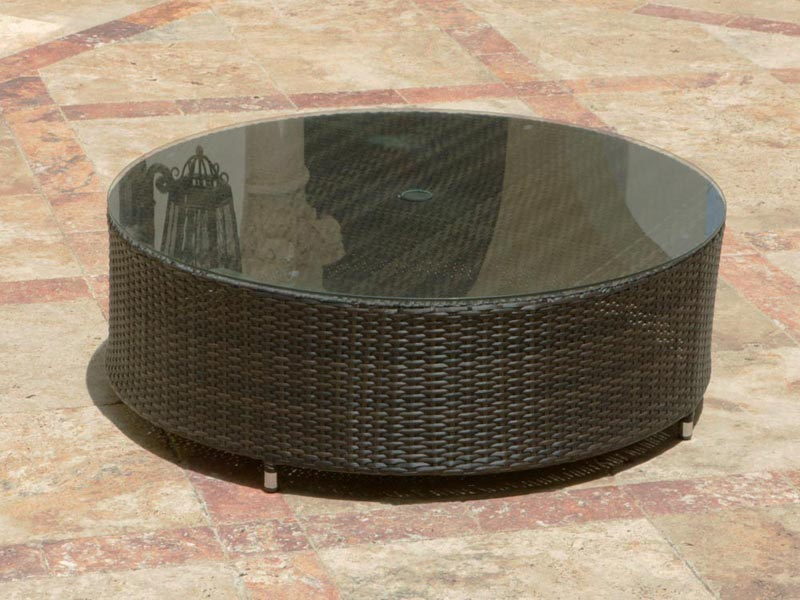 resin wicker coffee table brown