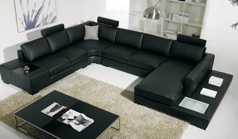 9 Piece Leather Sectional Sofa
