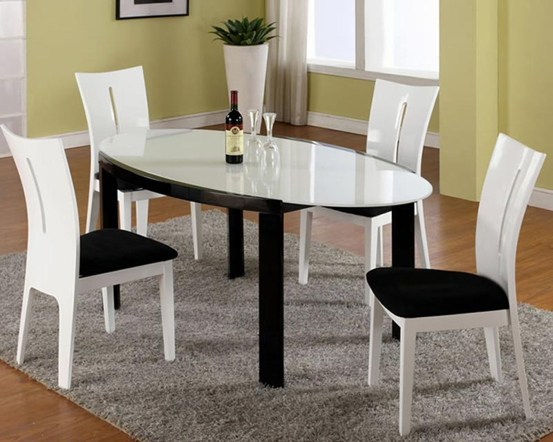 black and white dining room table and chairs