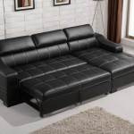 : black leather sofa bed ebay