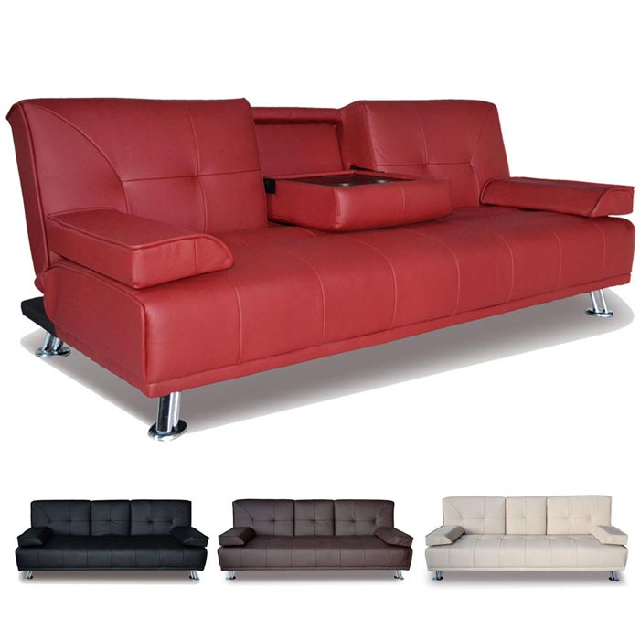 Black Leather Sofa Bed Sleeper With Adjustable Arms