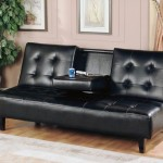 : black leather sofa bed with cup holder