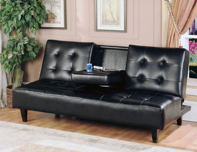 Black Leather Sofa Bed With Cup Holder