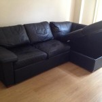 : black leather sofa bed with storage