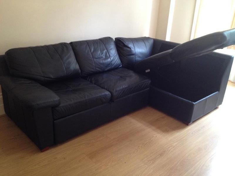 black leather sofa bed with storage