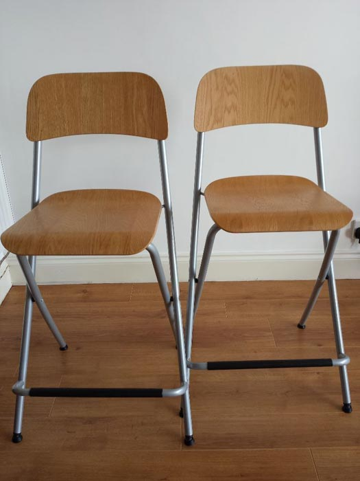 ikea folding wooden bar stool