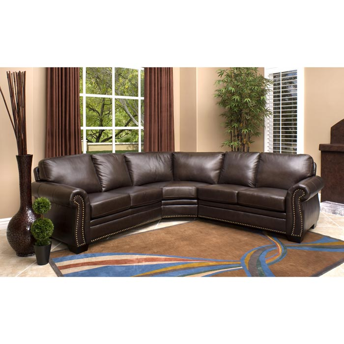 adelaide brown leather modern sectional sofa