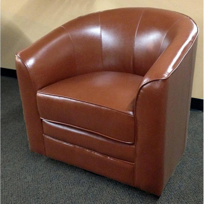 bicast cream leather swivel club chair
