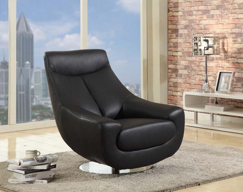 black leather swivel club chair
