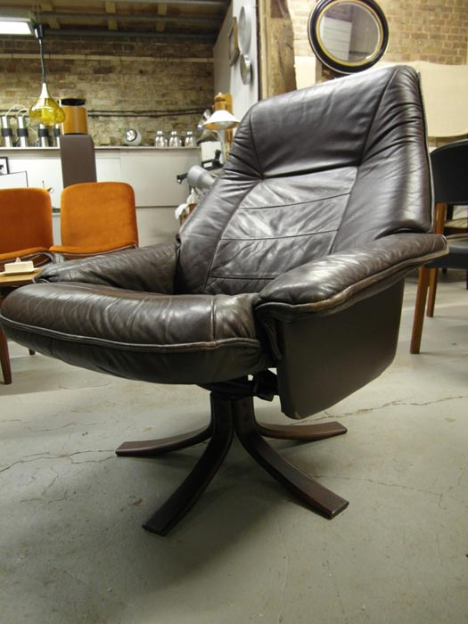 brown leather swivel recliner chair