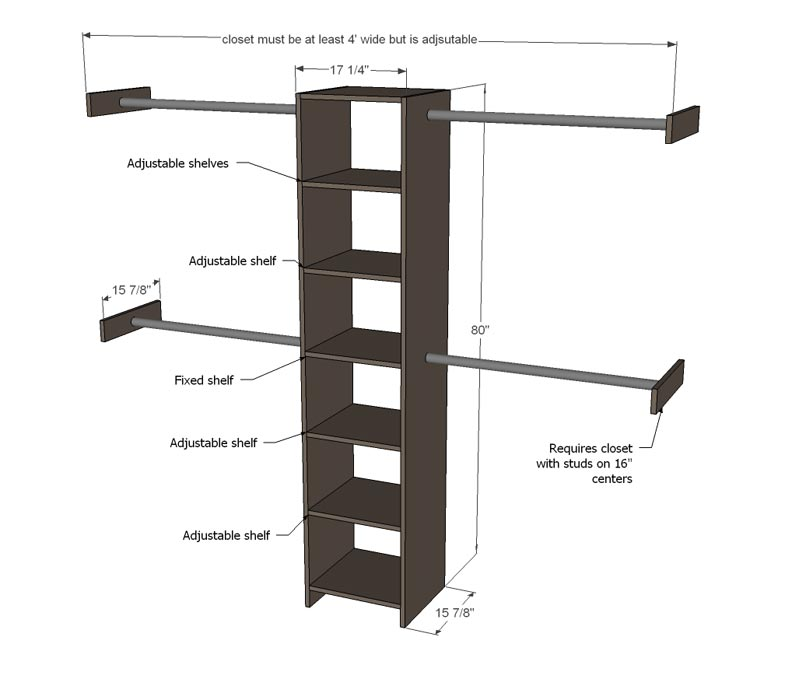 closet rod and shelf dimensions