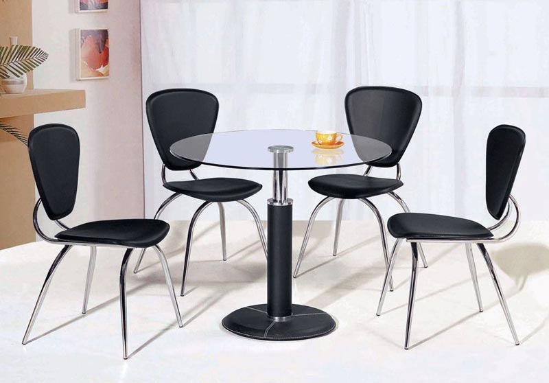 contemporary black leather dining chairs
