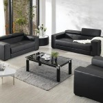 : contemporary black leather furniture