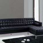 : contemporary black leather sofa