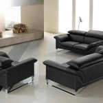 : contemporary black leather sofa set