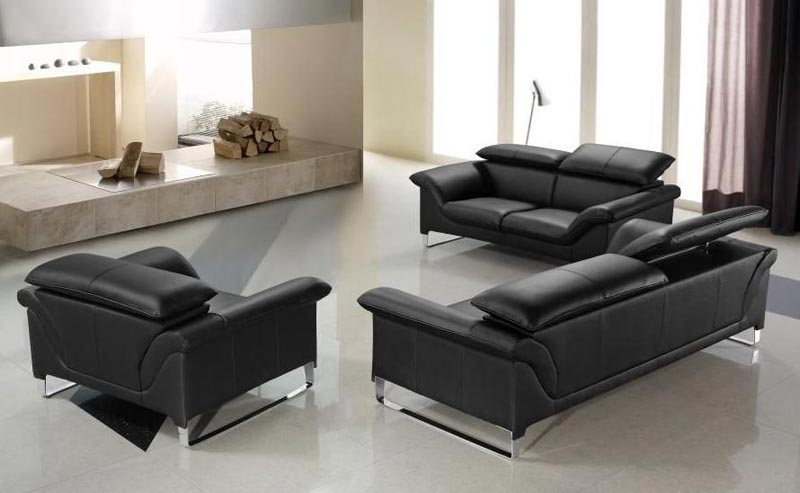 contemporary black leather sofa set
