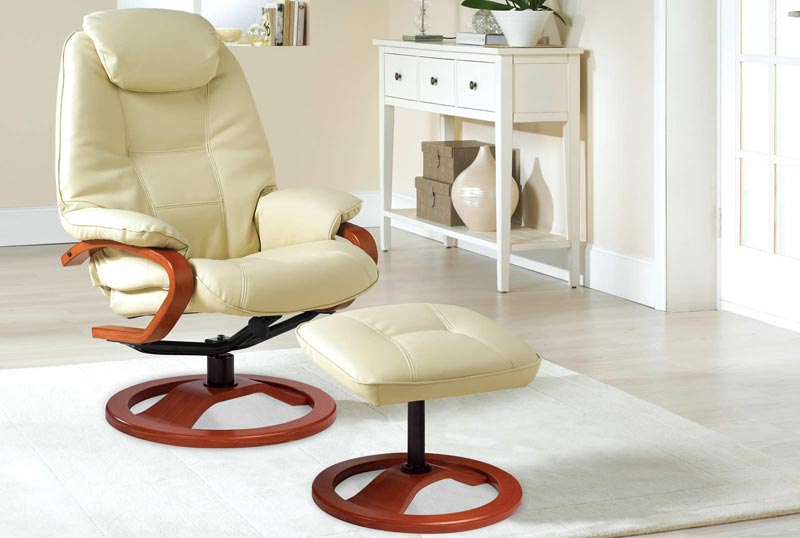 cream leather swivel recliner chair