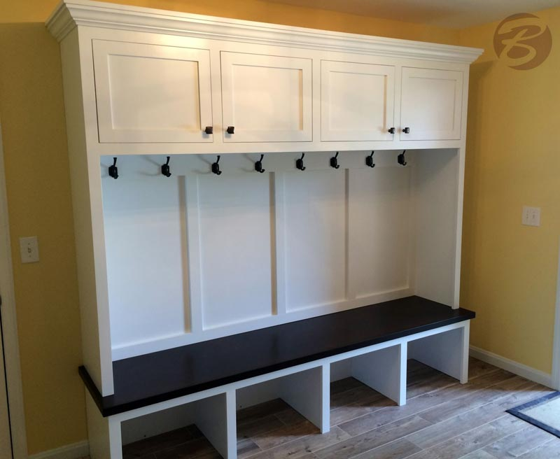 entry bench with storage and hooks
