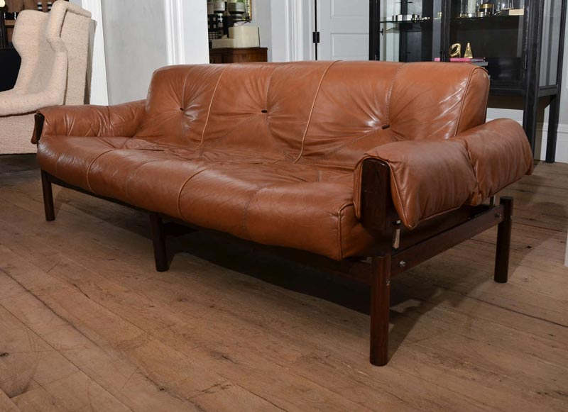 mid century modern brown leather sofa