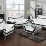 : modern black and white leather sofa set