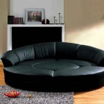 : modern black leather circular sectional sofa