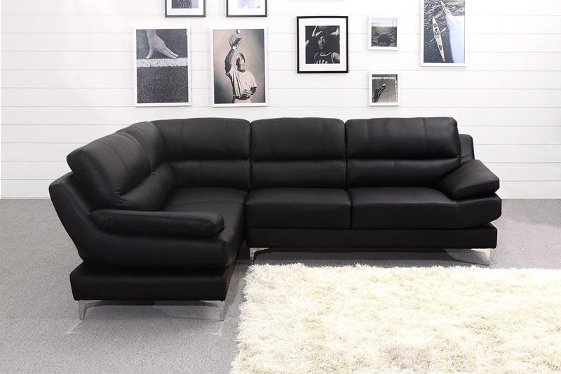 Modern Black Leather Corner Sofa