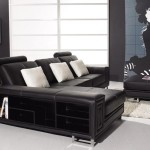 : modern black leather couches