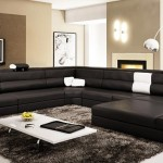 : modern black leather sectional sofa with built in light