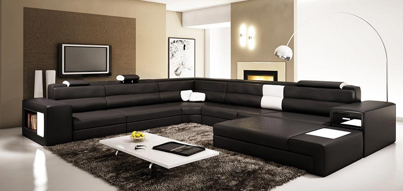 Modern Black Leather Sectional Sofa With Built In Light