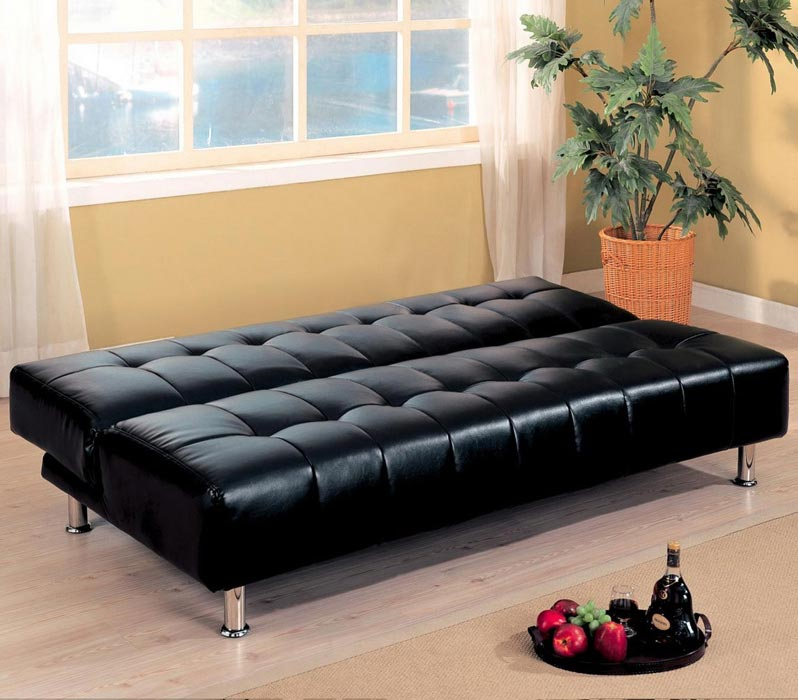 Modern Black Leather Sofa Bed Sleeper