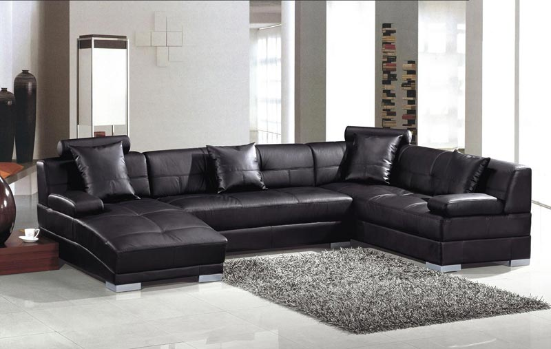 Modern Black Leather Sofa Bed