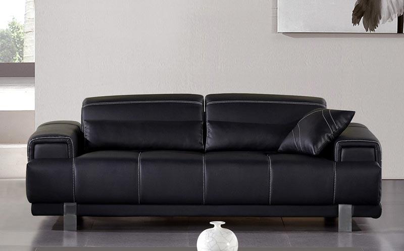 Modern Black Leather Sofa With Chrome Legs